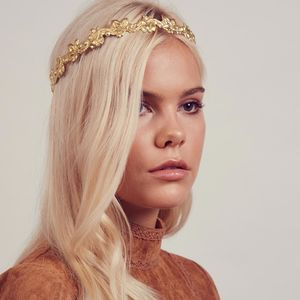 Ivy Gold Metal Crown Headband - wedding jewellery