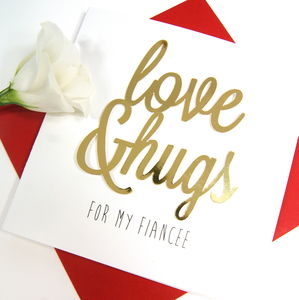 Fiancee Love And Hugs Card - new in