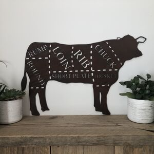 Large Cow Butchers Cuts Home Sign