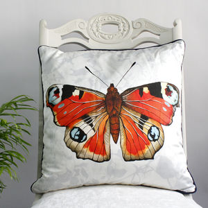 Peacock Butterfly Print Silk Cushion - cushions