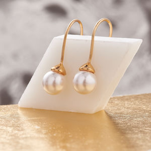 Pearl Earrings Drop Gold Earrings - women's jewellery