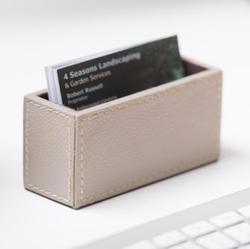 Personalised Leather Business Card Holder Stone