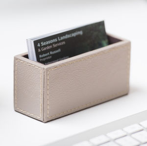 Leather Business Card Holder Stone