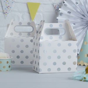 Silver Foiled Polka Dot Party Boxes - party bags and ideas