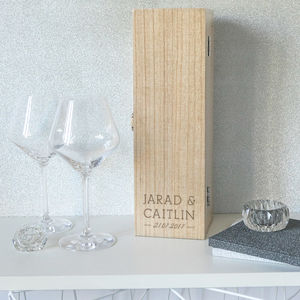 Personalised Couple Name Marriage / Engagement Wine Box - kitchen