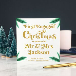 Personalised First Engaged Christmas Card