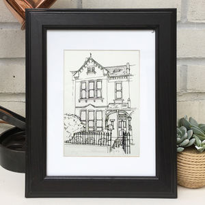 Personalised House Portrait Line Drawing - posters & prints