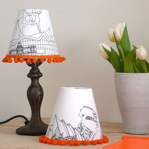 Pair Of Hand Drawn Glasgow Candle Lampshade - lighting