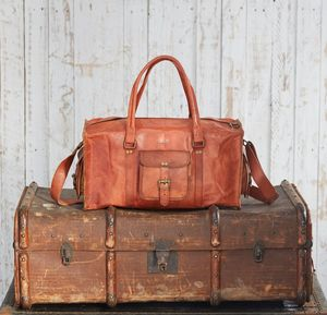Personalised Large Brown Leather Holdall - luggage