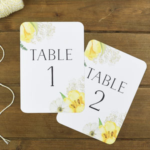 Spring Fields Wedding Table Number - table numbers
