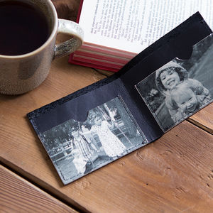 Personalised Mens Leather Covert Photo Wallet - our family