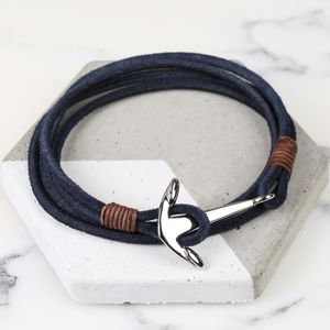 Men's Cord Wrap Bracelet With Stainless Steel Anchor