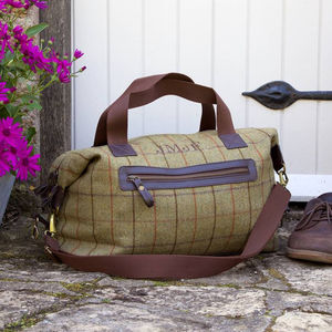 Personalised Initial Tweed Weekend Bag - accessories