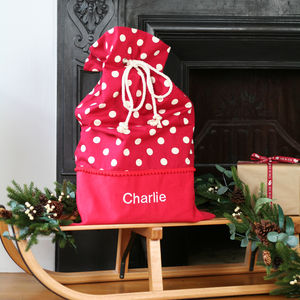 Luxury Personalised White Spot Christmas Santa Sack