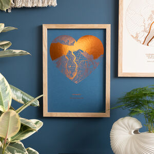 Heart Shaped Personalised Metallic Textures Map Print