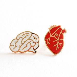 Heart And Brain Pin Brooches - pins & brooches