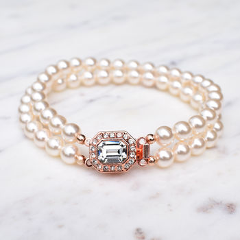 Rose Gold Tone Two String Pearl Bracelet
