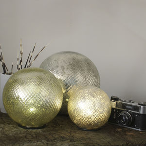 Silver Mercury Glass LED Globe Light - lighting