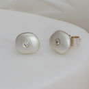 Silver Pebble Diamond Ear Studs