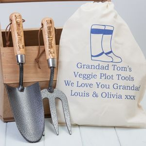 Personalised Garden Trowel And Fork Set - gifts for grandparents