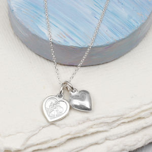 Silver St Christopher And Puffed Heart Charm Necklace
