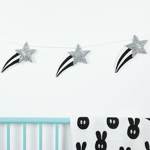Monochrome Shooting Star Garland - children's room