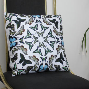White Butterfly Kaleidoscope Cushion - bedroom