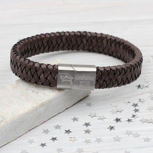 Personalised Graduation Leather Plaited Bracelet - men's jewellery