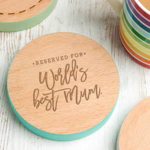 'Worlds Best Mum' Mothers Day Custom Coloured Coaster - shop by price