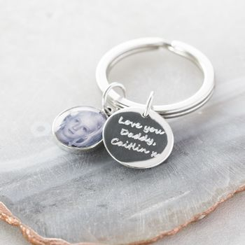 Small Personalised Silver Photo Keyring