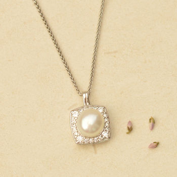 Pearl And Sparkle Square Pendant