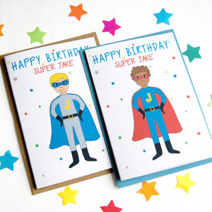 Superhero Personalised Child Birthday Card - birthday cards
