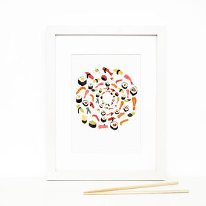 Sushi, Illustrated Giclée Wall Art Print