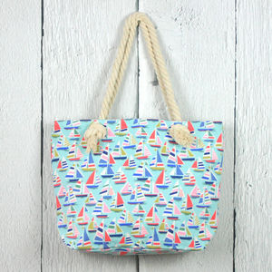 Sailboats Print Shopper Bag Set - holdalls & weekend bags