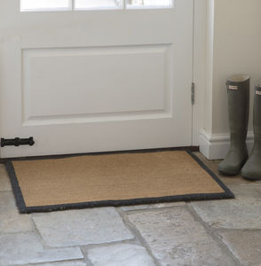 Large Coir Doormat With Grey Edge - rugs & doormats