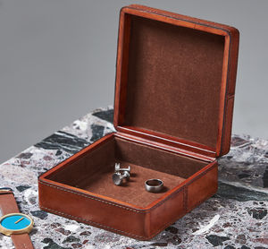Gents Personalised Square Leather Cufflink Box - cufflink boxes & coin trays