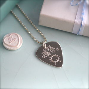 Personalised Sterling Silver Plectrum Necklace - music-lover