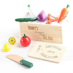Personalised Wooden Veg Box Play Set