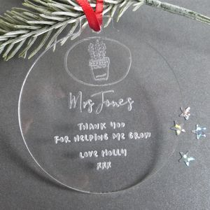 Bauble Decoration Personalised Teacher Gift