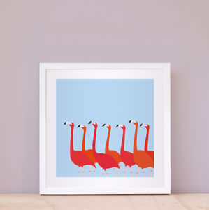 Flamingoes Dance Print Blue - posters & prints