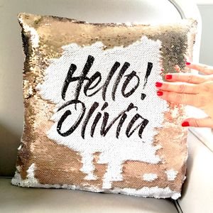Personalised Sequin Reveal Cushion Cover - living room