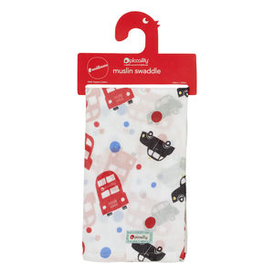 London Bus Muslin Swaddle Wrap
