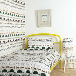 Single Duvet Cover Ivory Walking Zoo - bed linen