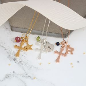 Personalised Silver Or Gold Cross With Birthstones - christening jewellery