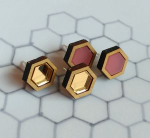 Hexagon Geometric Stud Earrings - earrings