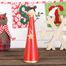 Red Tin Angel With Gold Star Christmas Decoration