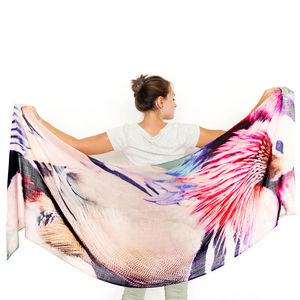 Womens Printed Cashmere Silk Scarf, Duck - stylish gadgets and accessories