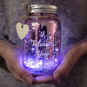 Personalised Message Pink LED Sparkle Jar - new in home