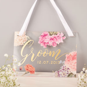 Personalised Floral Bride And Groom Wedding Signs - outdoor decorations