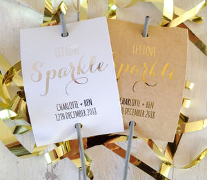 Set Of 12 'Sparkle' Personalised Sparkler Covers - sparklers